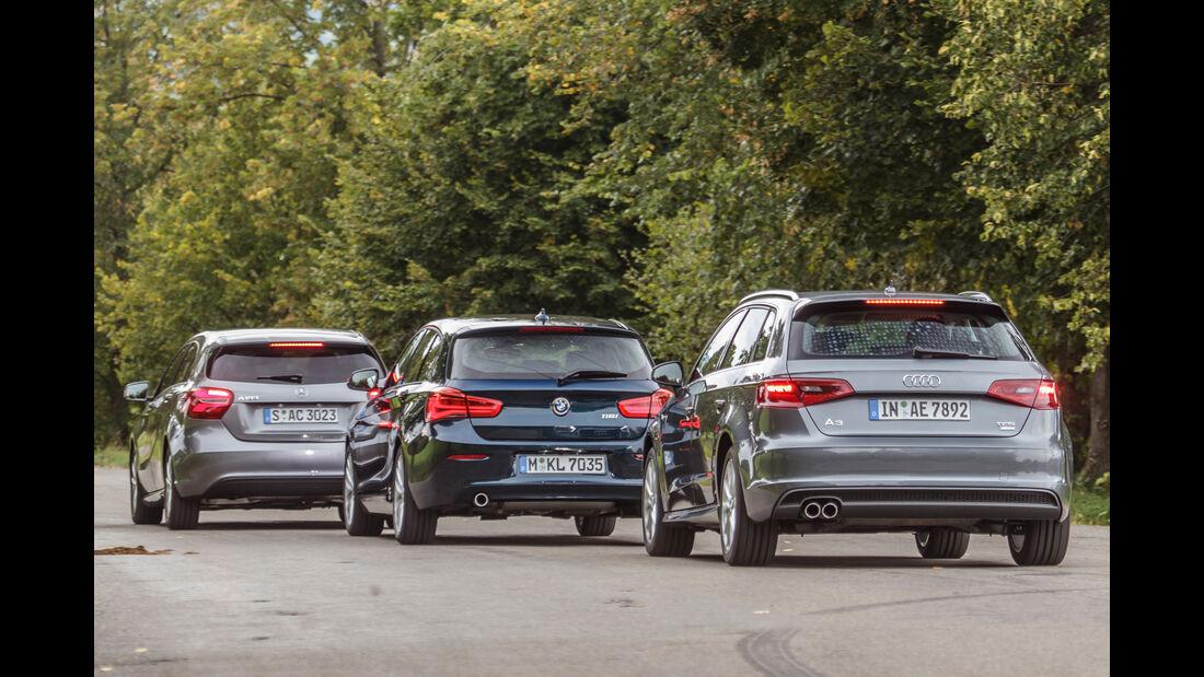 Audi A3 Sportback 1.4 TFSI COD, BMW 118i, Mercedes A 180, Heckansicht