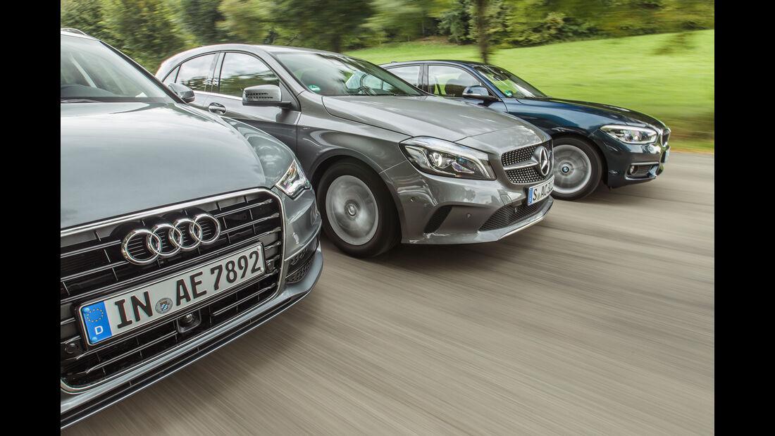 Audi A3 Sportback 1.4 TFSI COD, BMW 118i, Mercedes A 180, Motorhaube