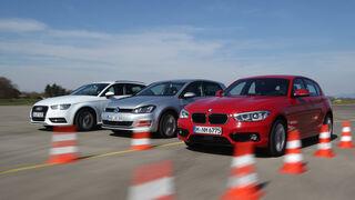 Audi A3 Sportback 1.6 TDI Ultra, BMW 116d, VW Golf 1.6 TDI, Frontanasicht