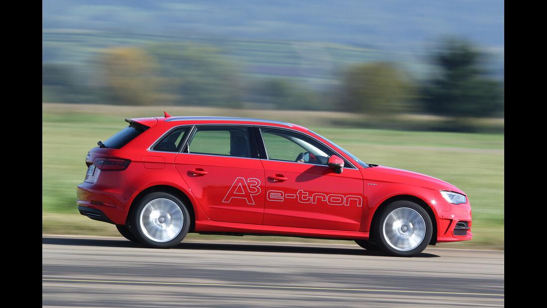 Audi A3 Sportback e-tron, Bremstest, Seitenansicht