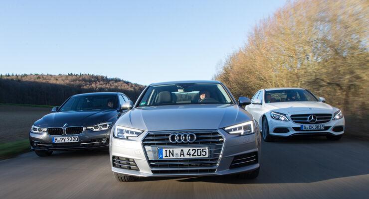 Audi A4 1.4 TFSI, BMW 318i, Mercedes C 180, Frontansicht