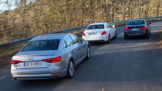 Audi A4 1.4 TFSI, BMW 318i, Mercedes C 180, Heckansicht