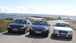 Audi A4 2.0 TDI, BMW 320d, Mercedes C 250 Bluetec, Frontansicht