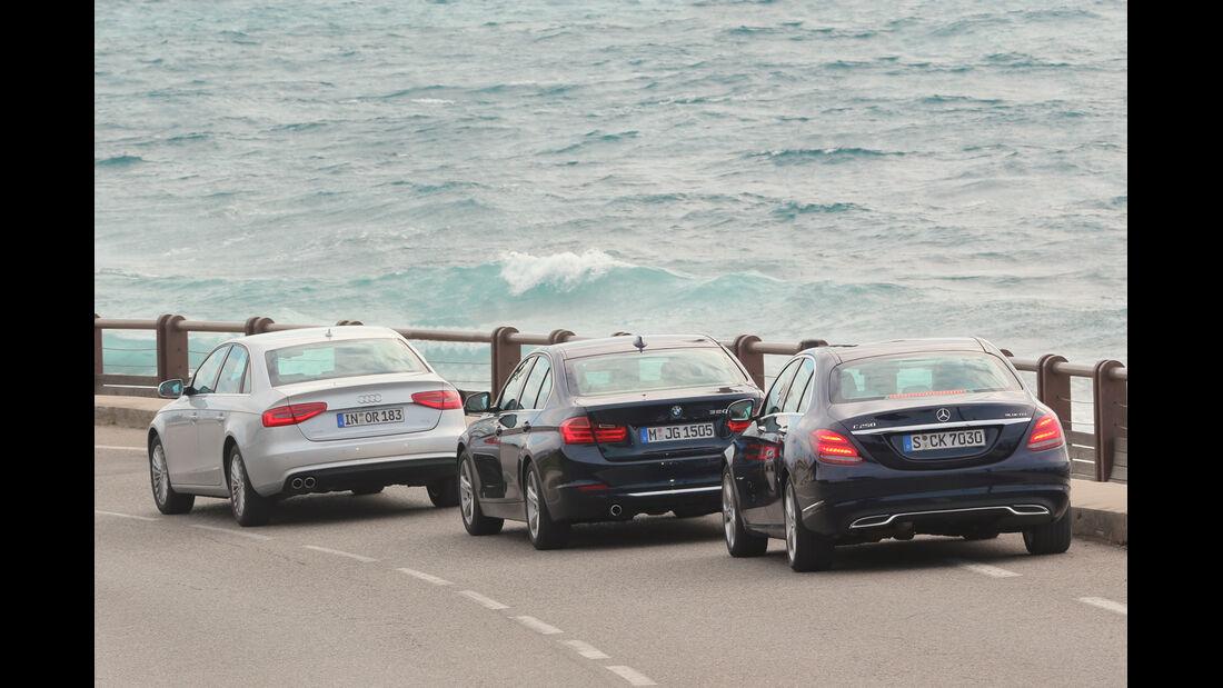 Audi A4 2.0 TDI, BMW 320d, Mercedes C 250 Bluetec, Heckansicht