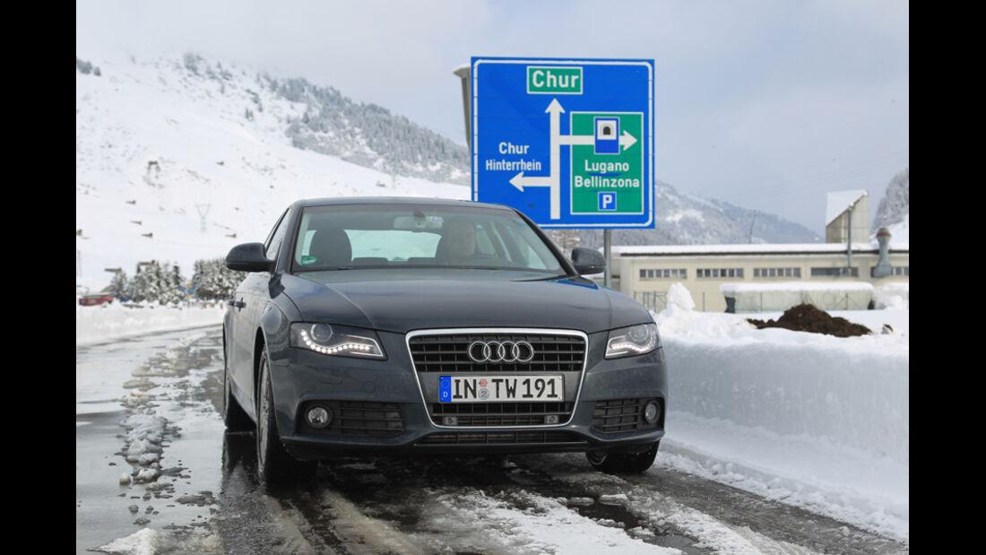 Audi A4 2.0 TDI, Nufenen, Winter, Schnee, Frontansicht