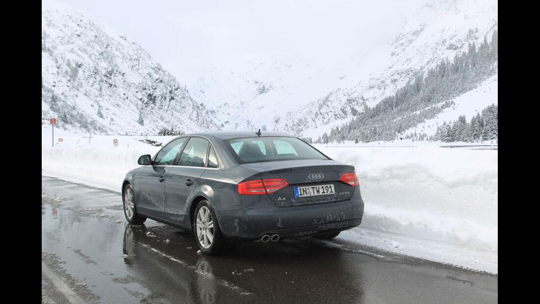 Audi A4 2.0 TDI, Nufenen, Winter, Schnee, Rückansicht