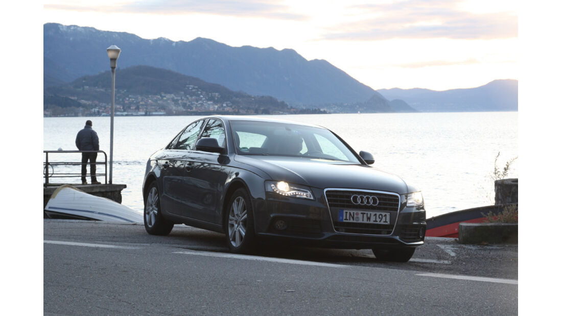Audi A4 2.0 TDI, See, Frontansicht, Natur