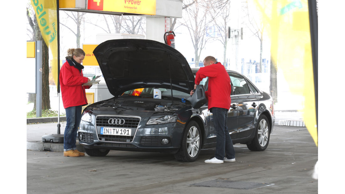 Audi A4 2.0 TDI, Tanken, Tankstelle