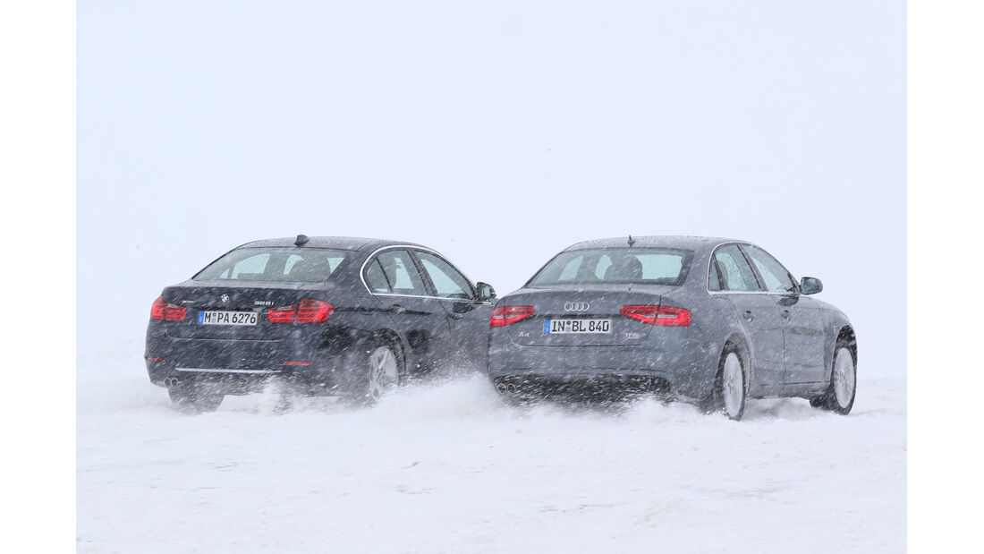 Audi A4 2.0 TFSI Quattro, BMW 328i x-Drive, Heckansicht