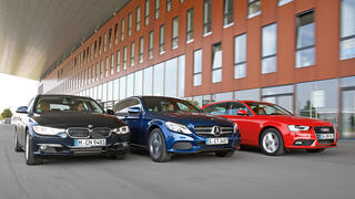 Audi A4 Avant 1.8 TFSI, BMW 320i Touring, Mercedes C 200 T, Frontansicht