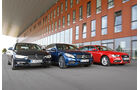 Audi A4 Avant 1.8 TFSI, BMW 320i Touring, Mercedes C 200 T, Frontansicht