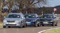 Audi A4 Avant 2.0 TDI, BMW 318d Touring, Skoda Superb Combi 2.0 TDI, Frontansicht