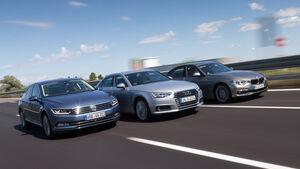Audi A4, BMW Dreier, VW Passat, Frontansicht