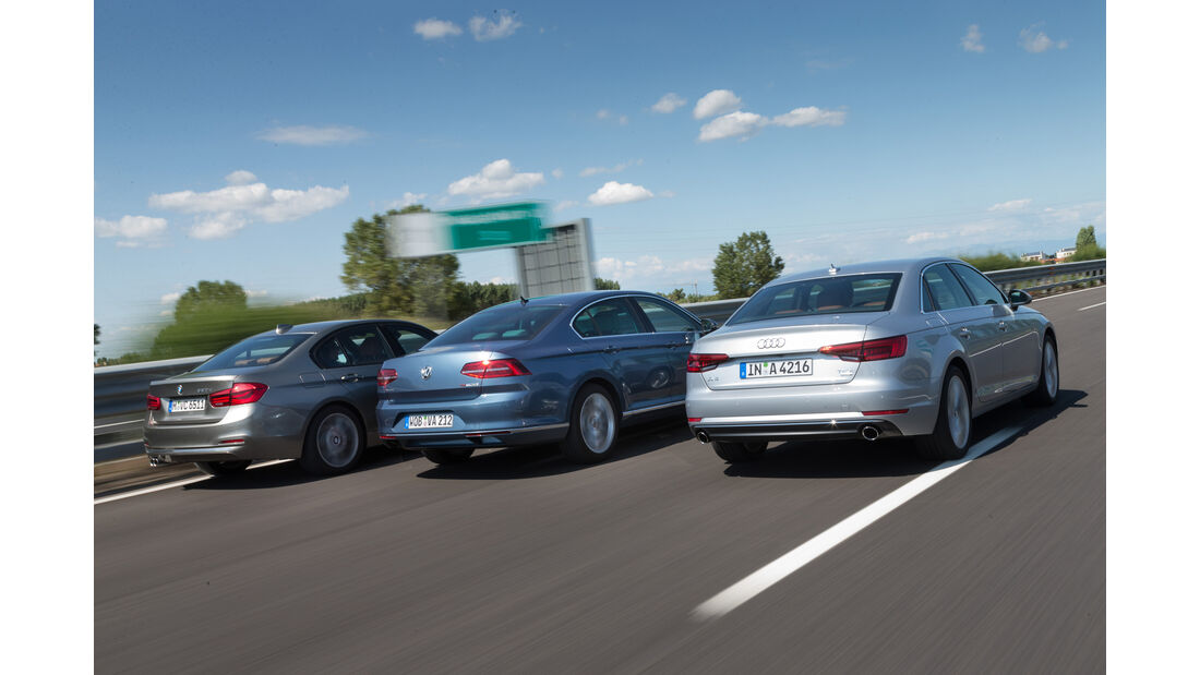 Audi A4, BMW Dreier, VW Passat, Heckansicht