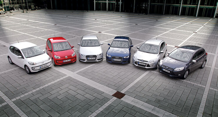 Audi A4, Ford Focus, VW Up, Frontansicht