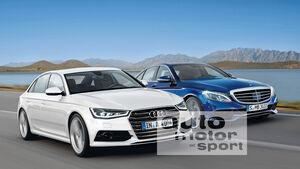 Audi A4, Mercedes C-Klasse, Frontansicht