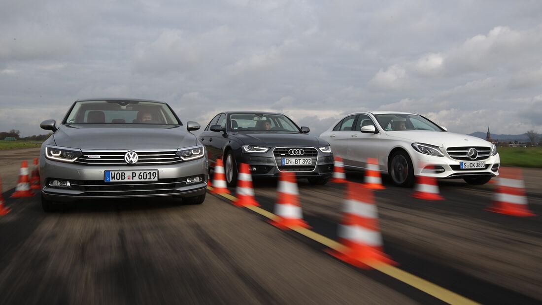 Audi A4, Mercedes C-Klasse, VW Passat, Frontansicht