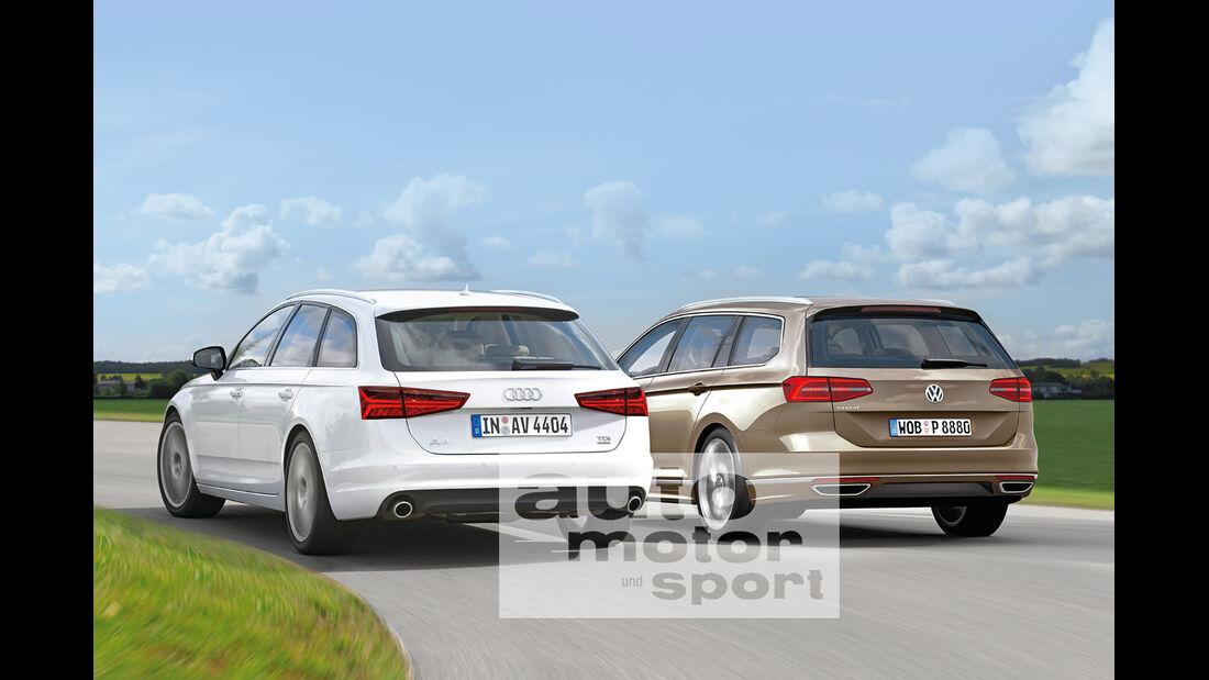 Audi A4, VW Passat, Heckansicht