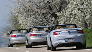 Audi A5 2.0 TFSI Cabrio, BMW 320i Cabrio, Opel Cascada 1.6 SIDI Turbo, Heck