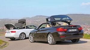 Audi A5 Cabrio, BMW Vierer Cabrio, Verdeck öffnet