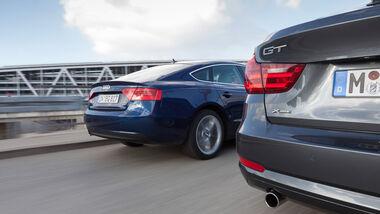 Audi A5 Sportback 2.0 TDI Quattro, BMW 320d GT xDrive, Heckansicht