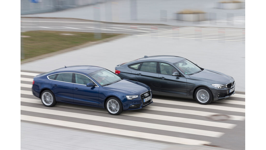 Audi A5 Sportback 2.0 TDI Quattro, BMW 320d GT xDrive, Seitenansicht