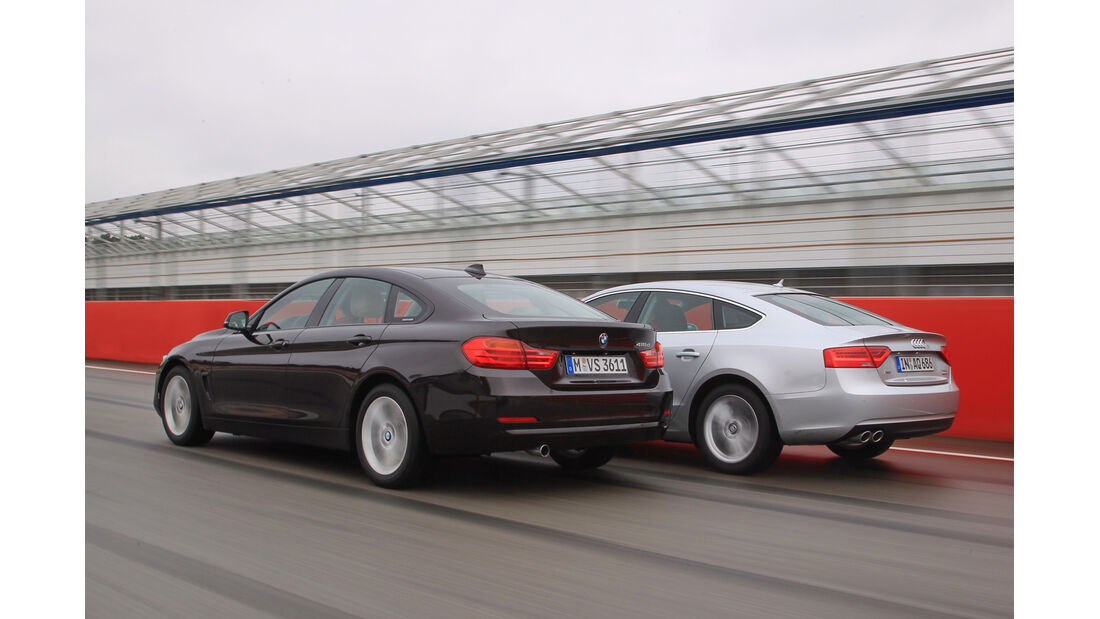 Audi A5 Sportback 2.0 TDI Ultra, BMW 418d Gran Coupé, Heckansicht