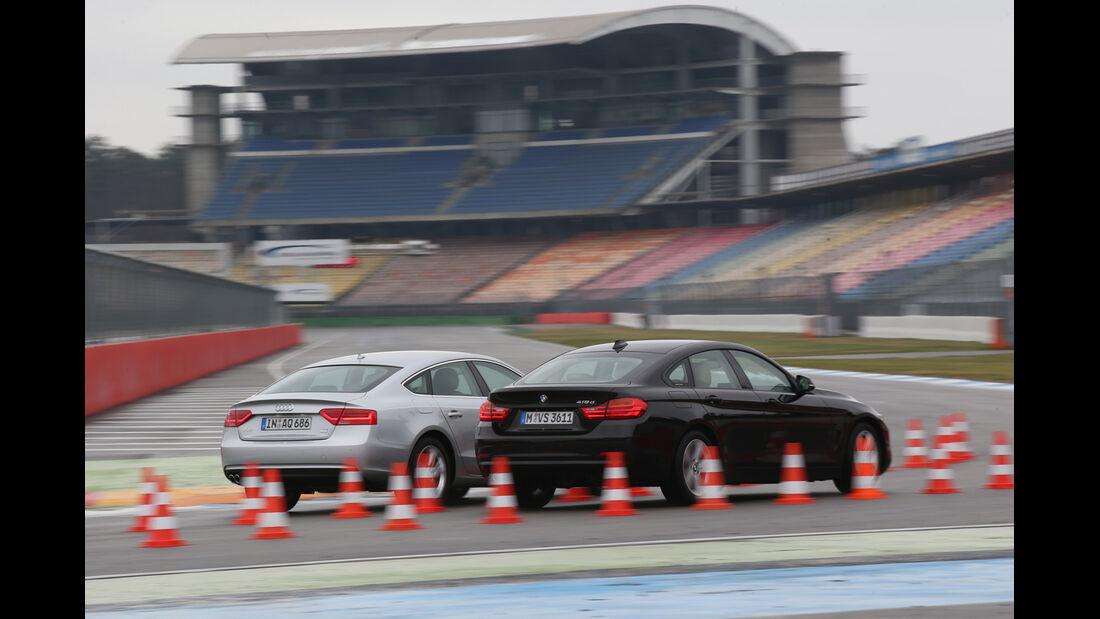 Audi A5 Sportback 2.0 TDI Ultra, BMW 418d Gran Coupé, Seitenansicht