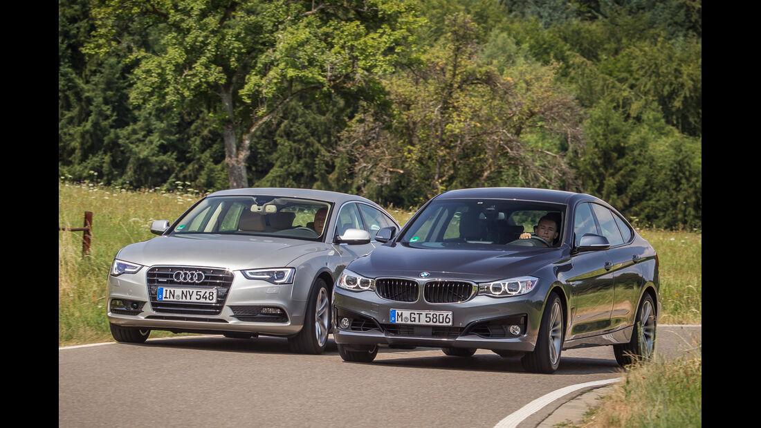 Audi A5 Sportback 3.0 TFSI, BMW 335i GT, Frontansicht