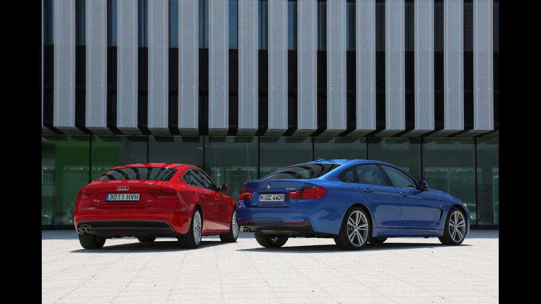 Audi A5 Sportback, BMW Vierer Gran Coupé, Heckansicht