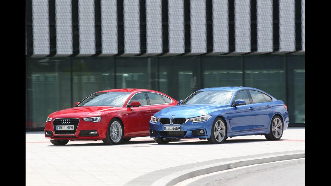 Audi A5 Sportback, BMW Vierer Gran Coupé, Seitenansicht