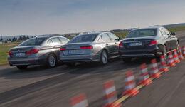 Audi A6 2.0 TDI, BMW 520d, Mercedes E 220 d, Heckansicht