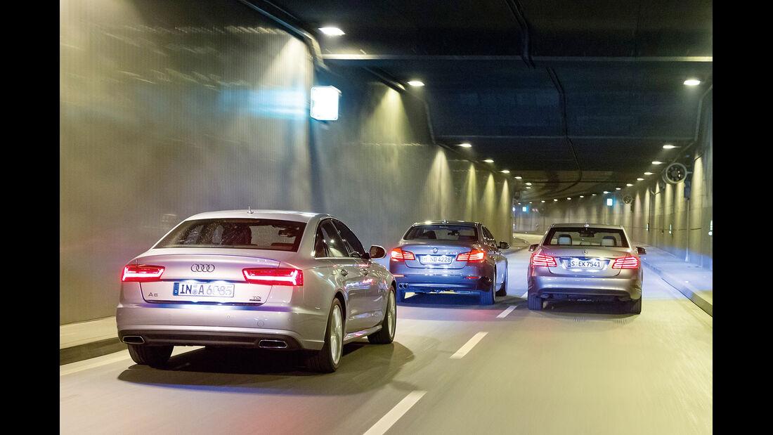 Audi A6 3.0 TDI Quattro, BMW 530d, Mercedes E 350 Bluetec, Heckansicht
