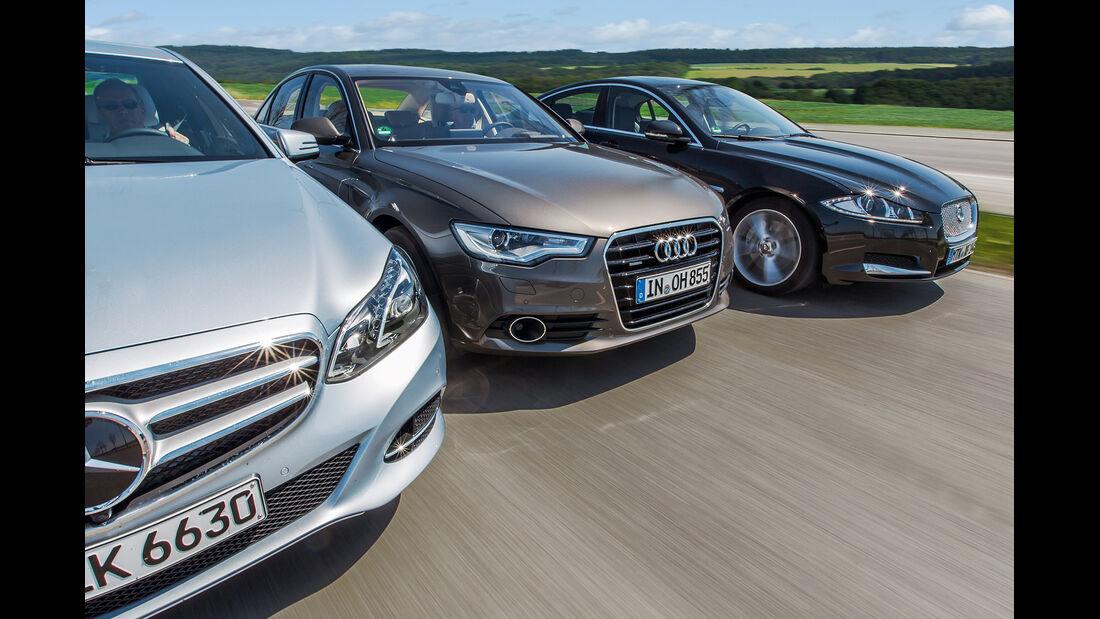 Audi A6 3.0 TFSI, Jaguar XF 3.0 V6, Mercedes E 400, Frontansicht