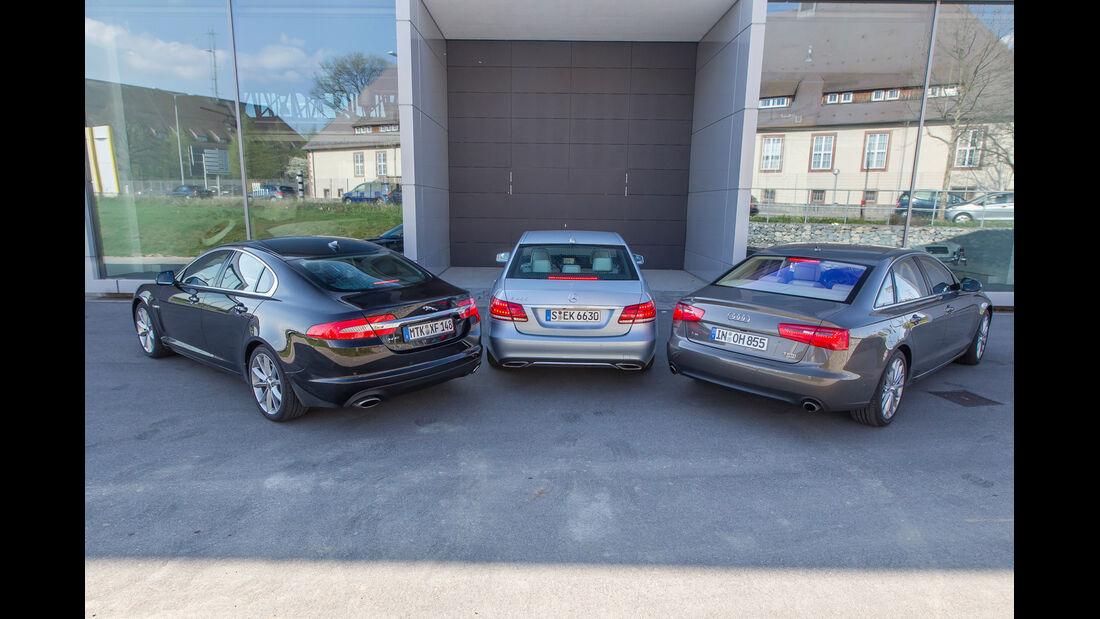Audi A6 3.0 TFSI, Jaguar XF 3.0 V6, Mercedes E 400, Heckansicht