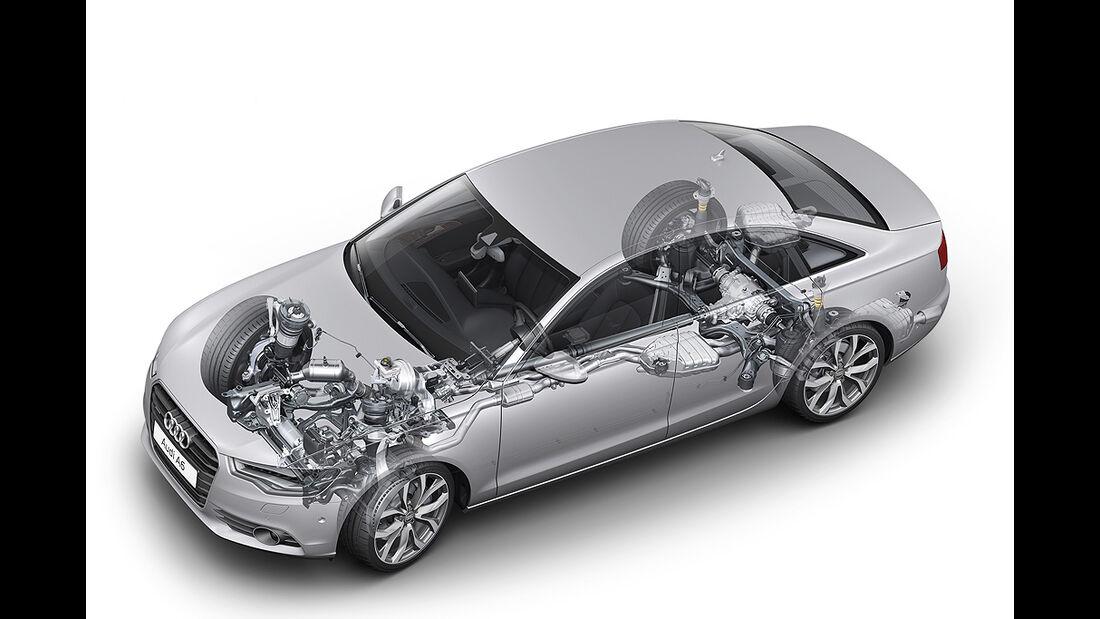 Audi A6, 3.0 TFSI quattro, technische Zeichnung