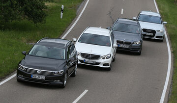 Audi A6 Avant 2.0 TFSI, BMW 528i Touring, Mercedes E 250 T Elegance, VW Passat Variant 2.0 TSI