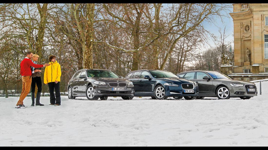 Audi A6 Avant 3.0 TDI Quattro, BMW 530d Touring, Jaguar XF Sportbrake 3.0 V6 D 600, Frontansicht