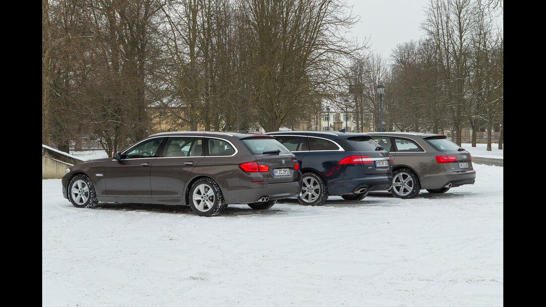 Audi A6 Avant 3.0 TDI Quattro, BMW 530d Touring, Jaguar XF Sportbrake 3.0 V6 D 600, Heckansicht