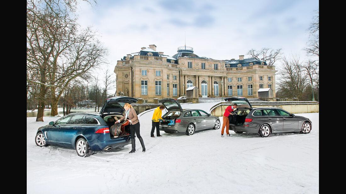 Audi A6 Avant 3.0 TDI Quattro, BMW 530d Touring, Jaguar XF Sportbrake 3.0 V6 D 600, Heckklappe, Heckansicht