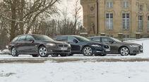 Audi A6 Avant 3.0 TDI Quattro, BMW 530d Touring, Jaguar XF Sportbrake 3.0 V6 D 600, Seitenansicht