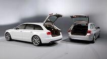 Audi A6 Avant, BMW 5er Touring, beide Fahrzeuge, Heckklappe offen