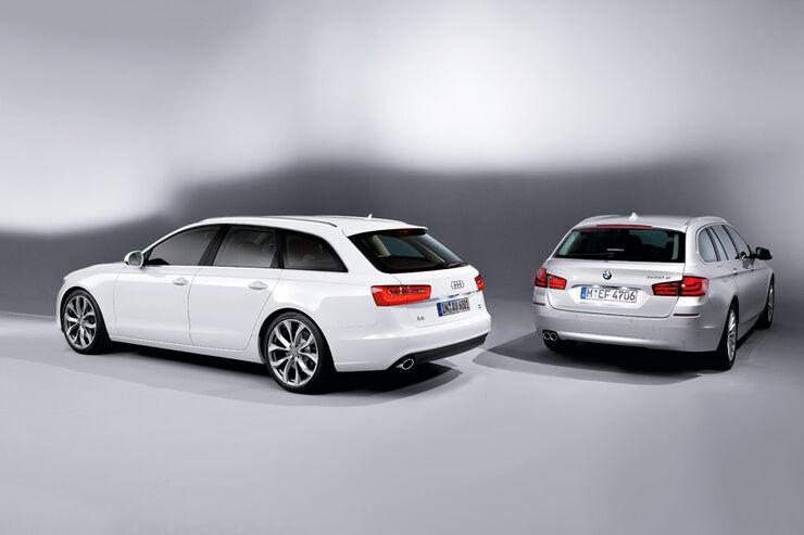 Audi A6 Avant, BMW 5er Touring, beide Fahrzeuge, geschlossen