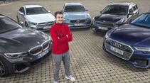 Audi A6 Avant, BMW M340i, Kia Niro, Mercedes A-Klasse, Porsche Cayenne, Volvo V90, Exterieur