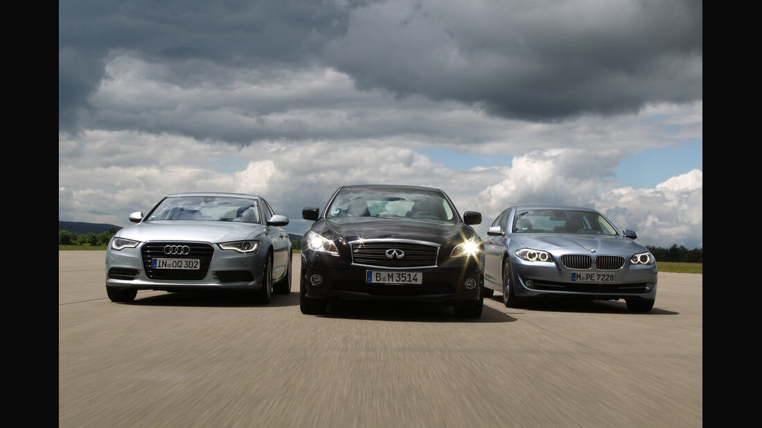 Audi A6 Hybrid, BMW Active Hybrid 5, Infiniti M35h, Frontansicht