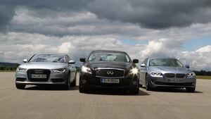 Audi A6 Hybrid, BMW Active Hybrid 5, Infiniti M35h, Frontansicht
