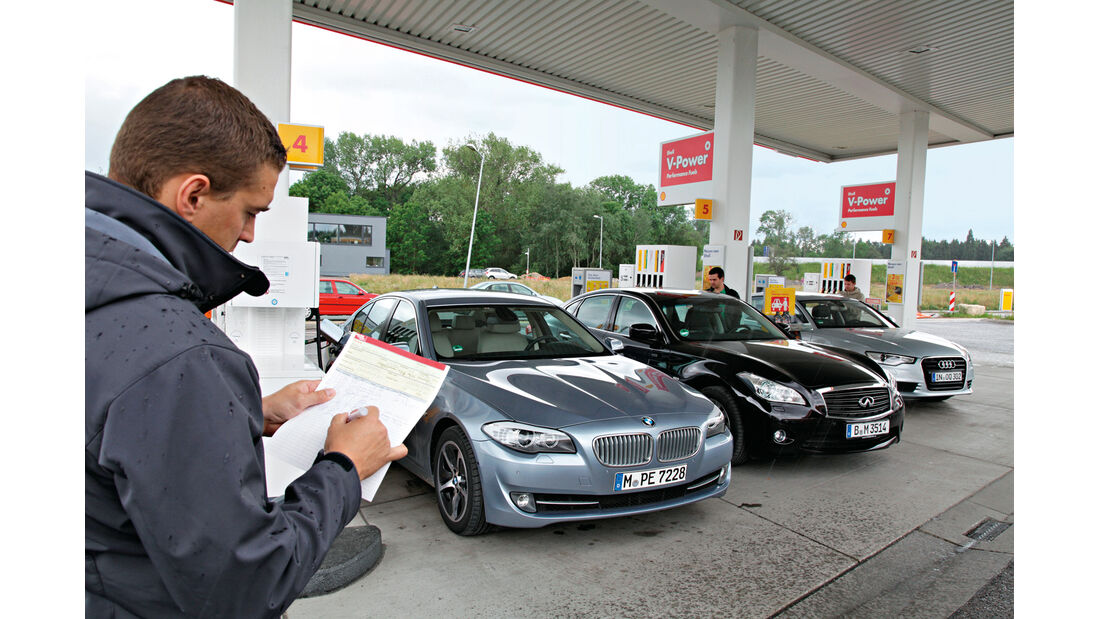 Audi A6 Hybrid, BMW Active Hybrid 5, Infiniti M35h, Tankstelle