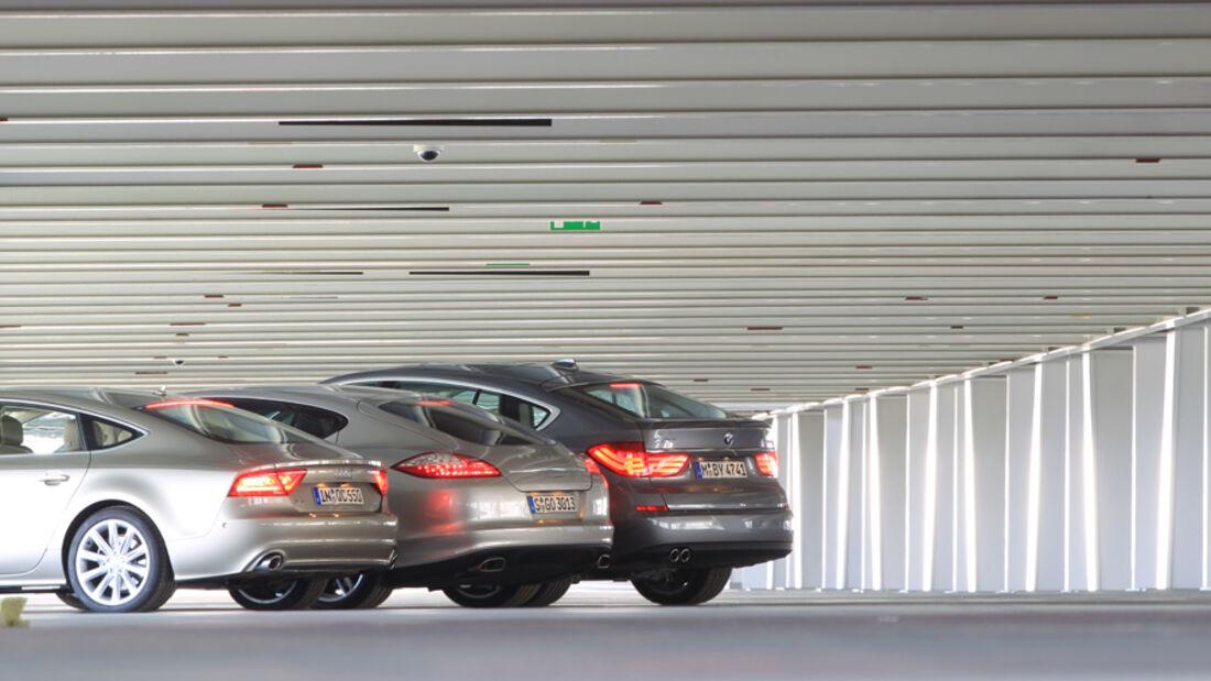 Audi A7 3.0 TDI, BMW 530d GT, Porsche Panamera D, Heck