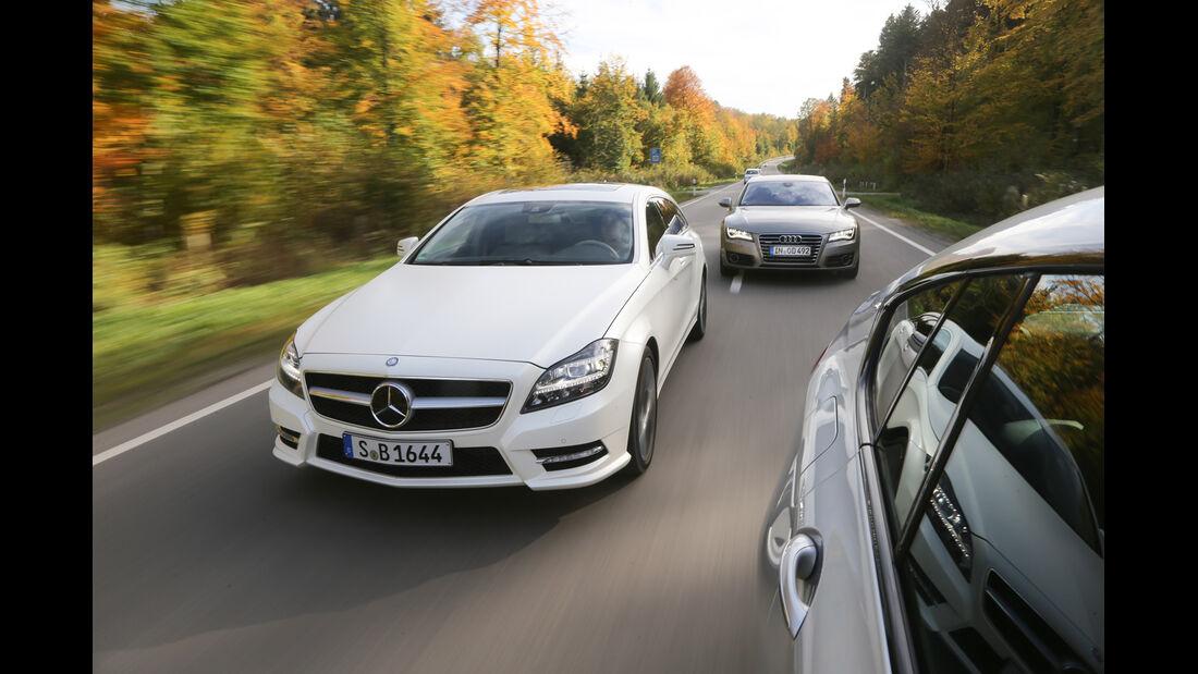 Audi A7 Sportback, BMW Fünfer GT, Mercedes CLS Shooting Brake, Frontansicht