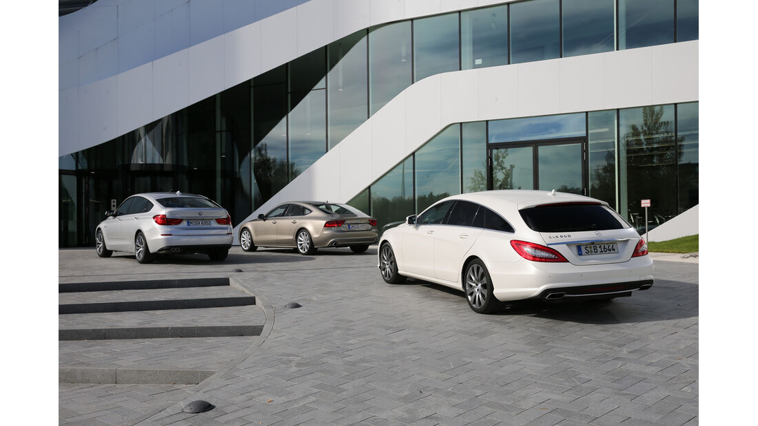Audi A7 Sportback, BMW Fünfer GT, Mercedes CLS Shooting Brake, Heckansicht
